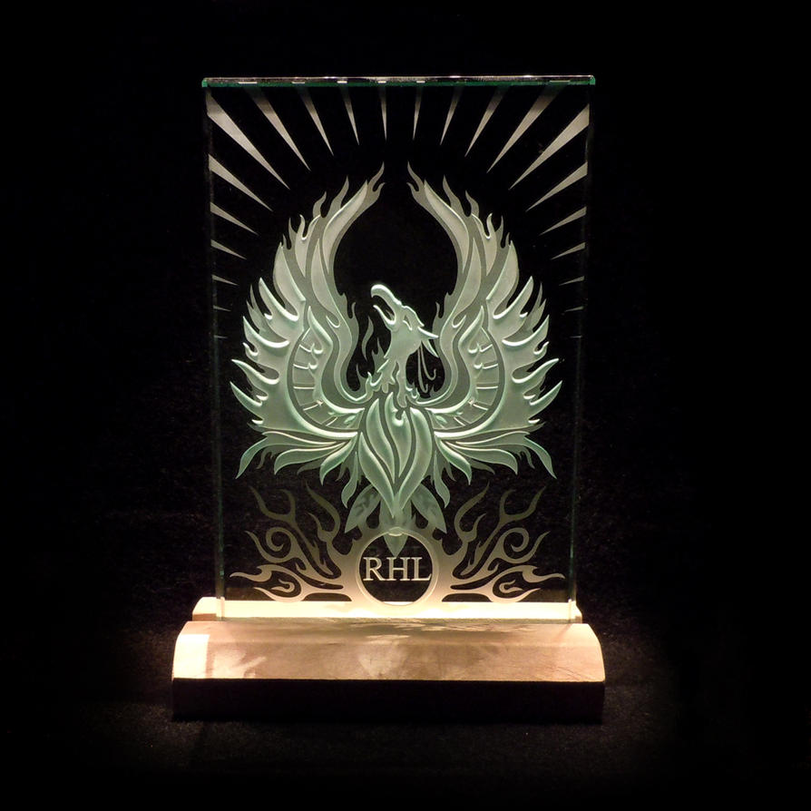Phoenix Rising Sandblasted Art Glass in Wood Base by ImaginedGlass