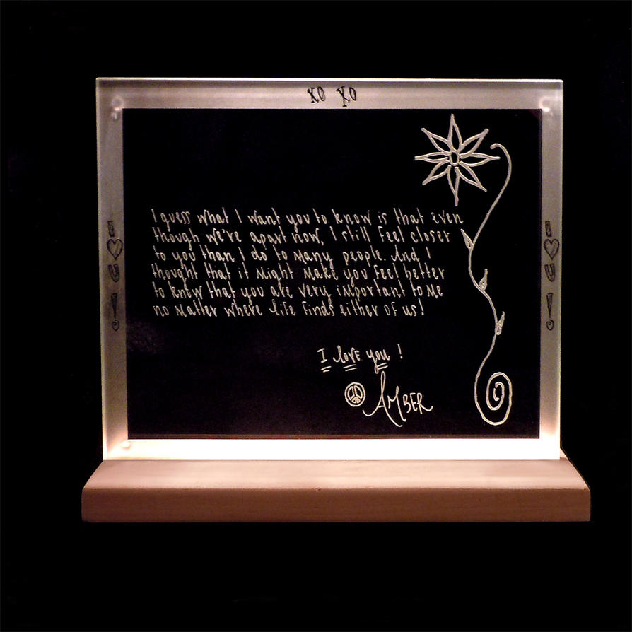 Etched Art Glass Handwritten Letter Sister's Love by ImaginedGlass