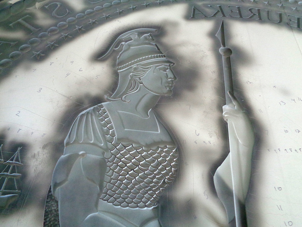 Minerva-goddess-sandblasted-mask-CA-state-seal by ImaginedGlass
