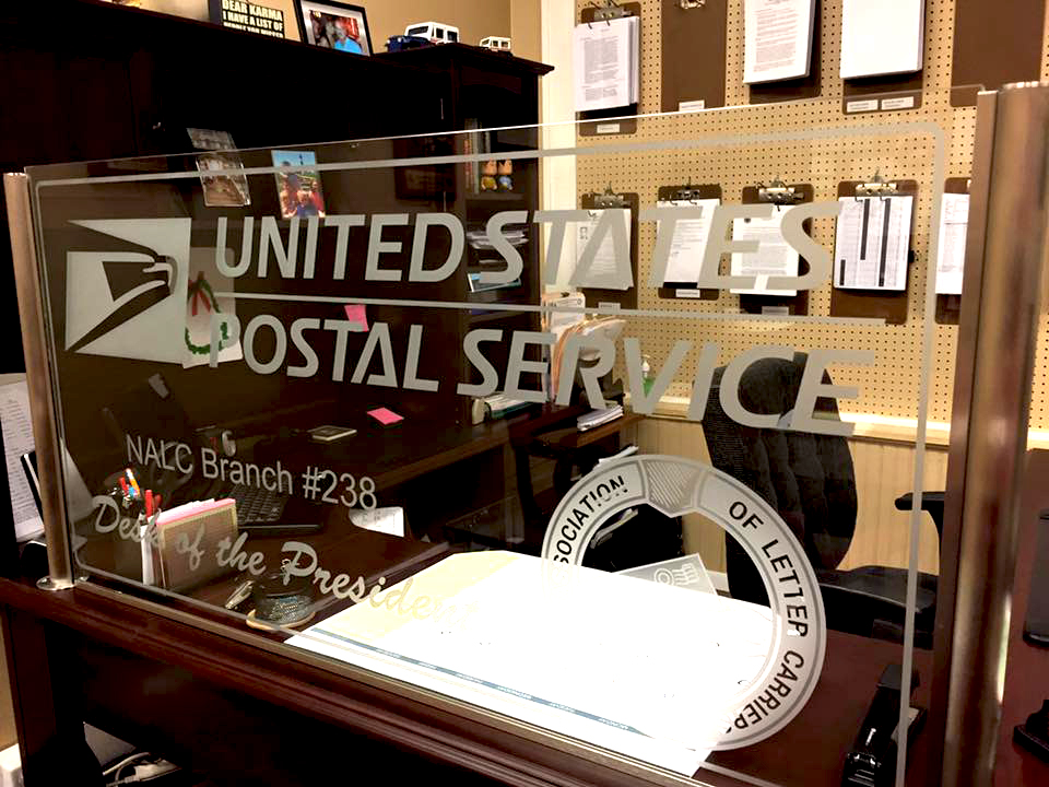 USPS Postal Service Etched Glass Partition Install by ImaginedGlass