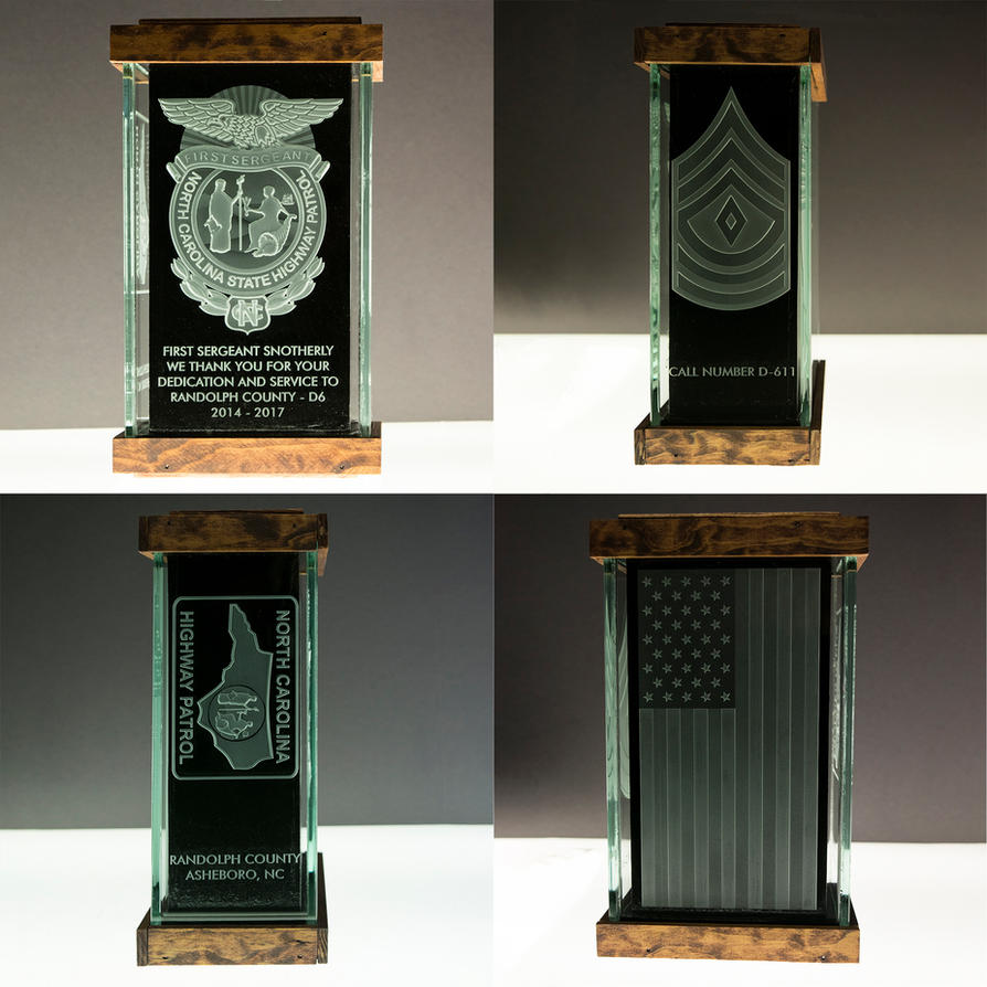 Etched Art Glass NC First Sergeant Award Gift by ImaginedGlass
