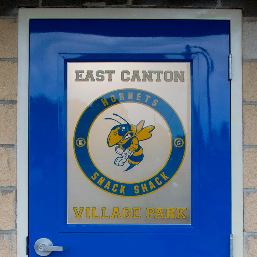 East-Canton-OH-Etched Glass-Hornet-Logo-Window-Gla by ImaginedGlass