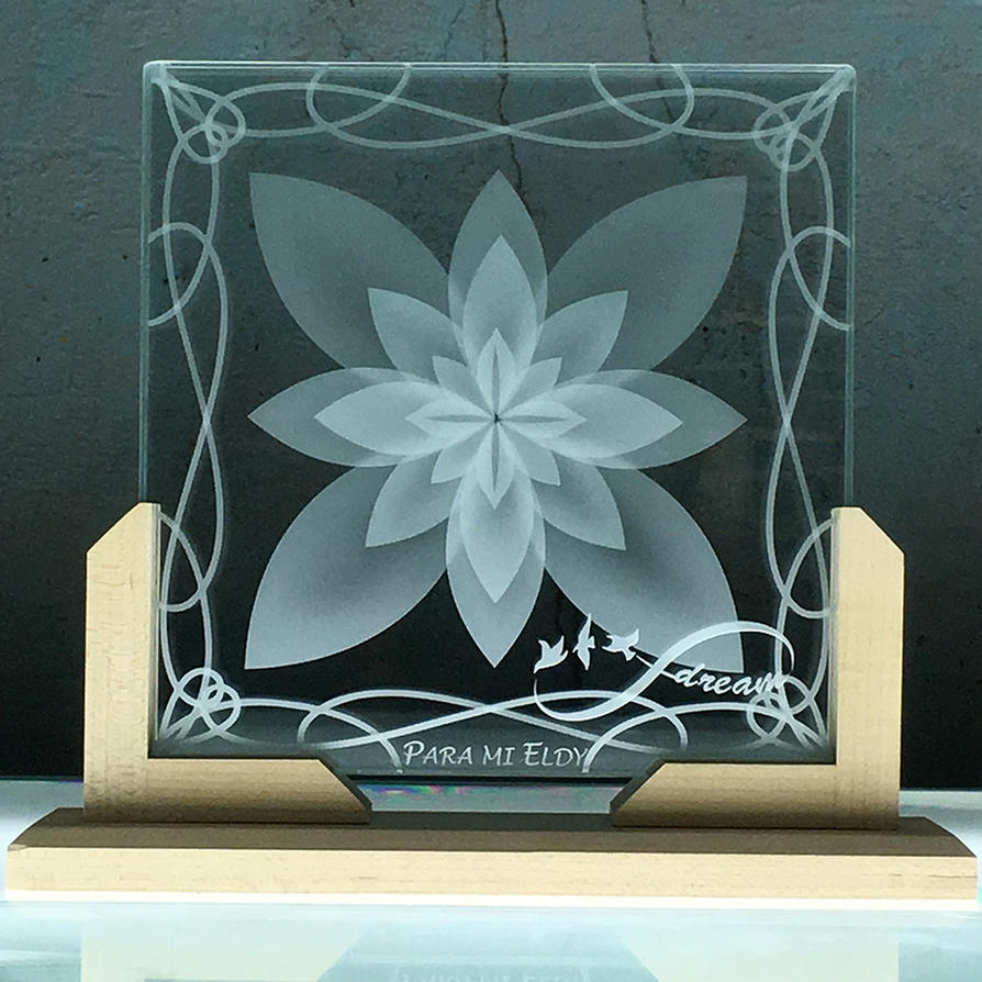 Lotus Flower Etched Glass Infinity Birds Custom By Imaginedglass On
