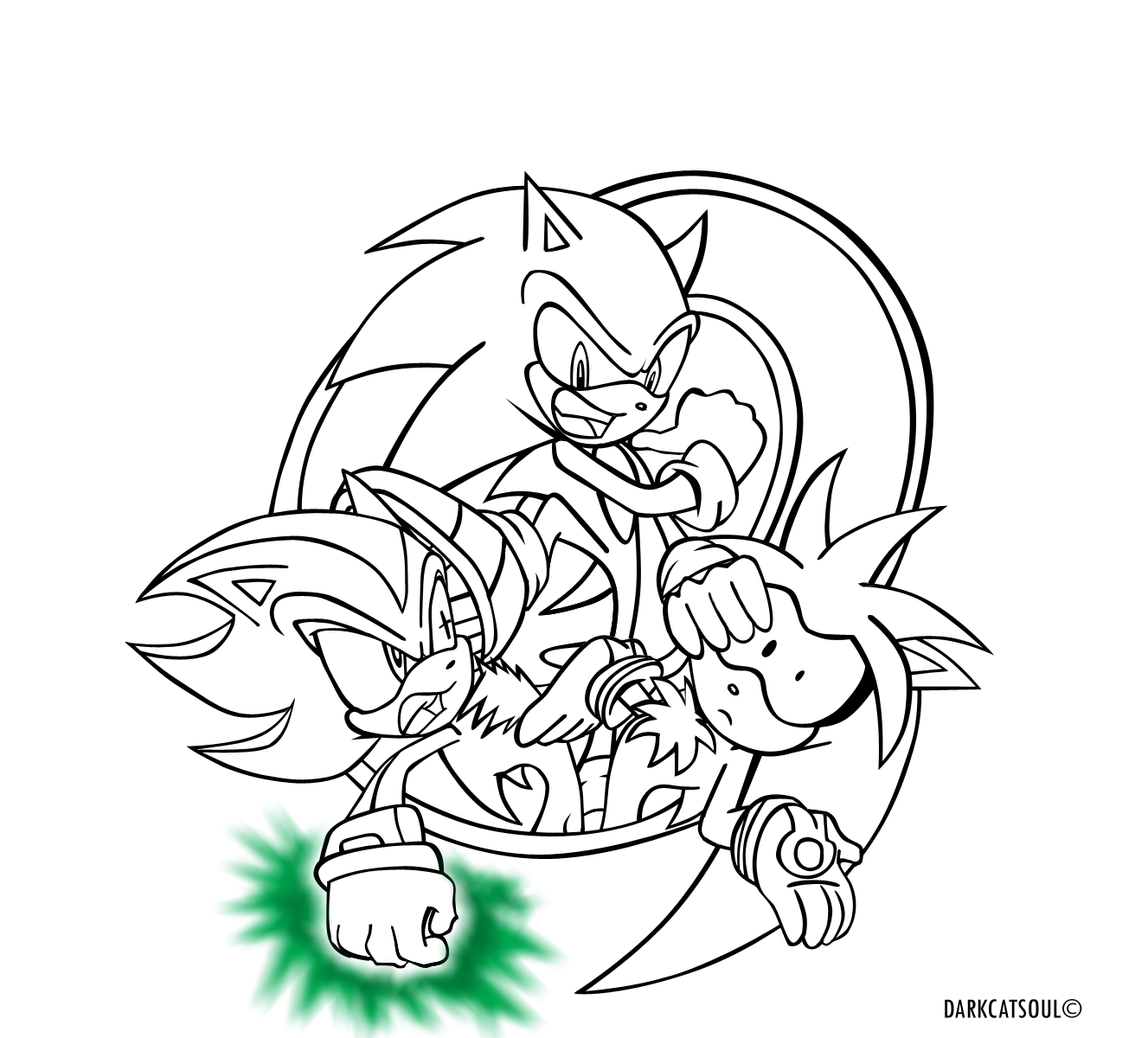 Sonic shadow silver lineart by darkcatsoul on deviantart for Sonic coloring pages online
