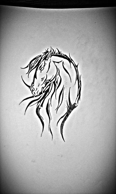 simple tribal horse tattoo designs. Black Bedroom Furniture Sets. Home Design Ideas