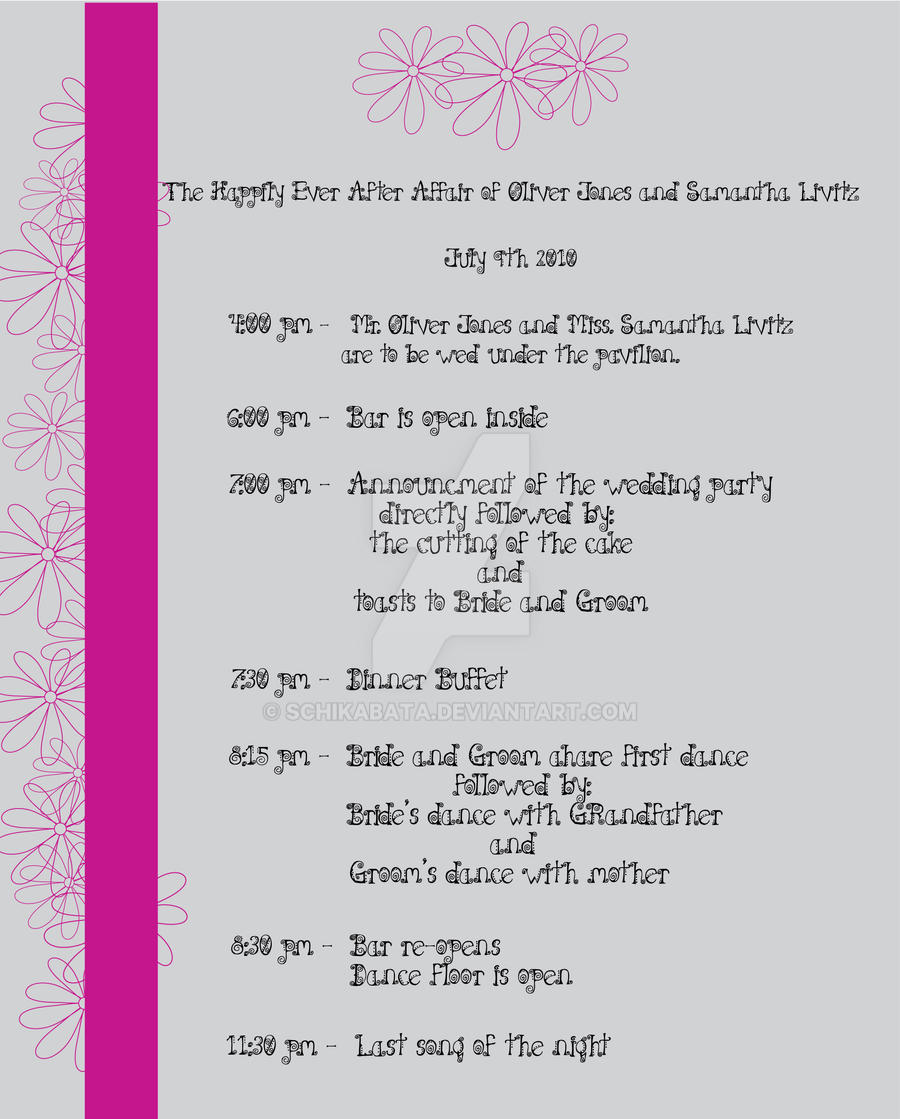 Pink flowers wedding schedule by schikabata on deviantart pink flowers wedding schedule by schikabata pink flowers wedding schedule by schikabata junglespirit Images