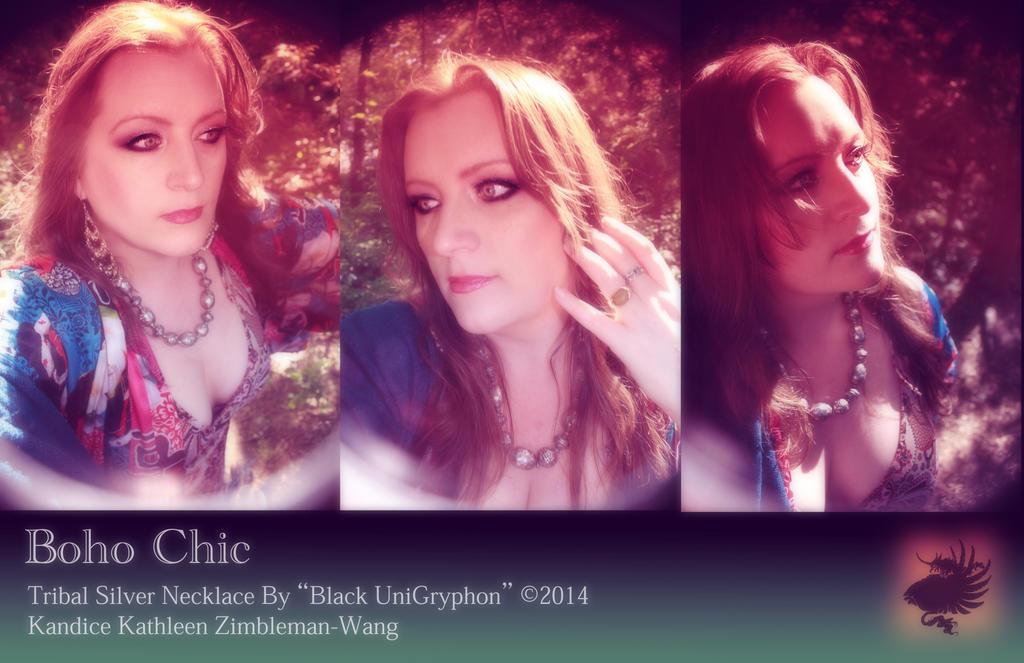 Tribal Silver Boho Necklace by BlackUniGryphon