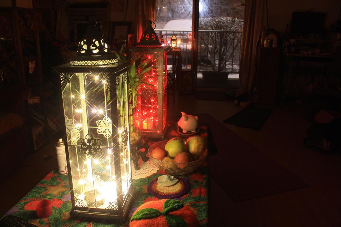 Boho Decor Lanterns During The Blizzard by BlackUniGryphon