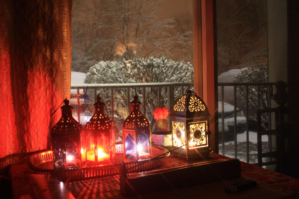 Boho Decor Lanterns n Candles During The Blizzard by BlackUniGryphon