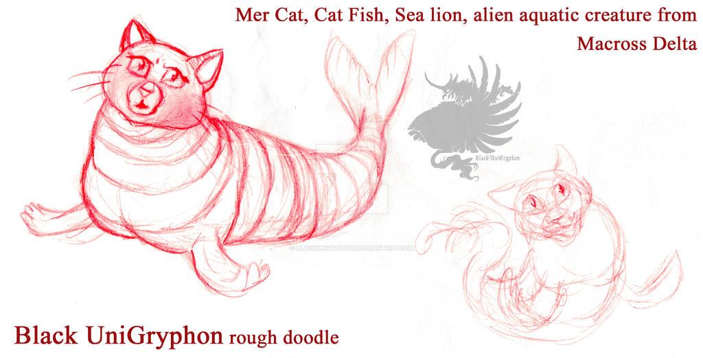 MerCat Macross Delta Fan Art Doodle 001 by BlackUniGryphon
