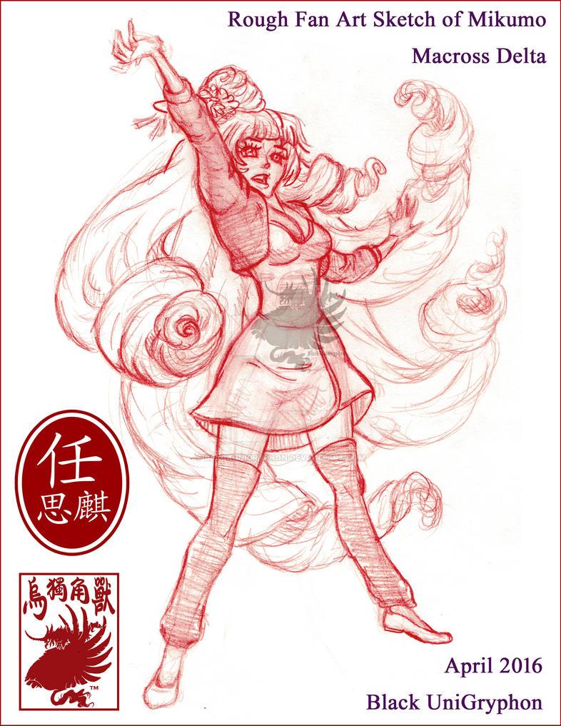 Mikumo Rough Sketch Fan Art by BlackUniGryphon