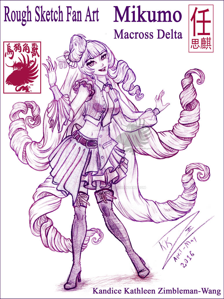 Mikumo Rough Sketch Fan Art 002 by BlackUniGryphon