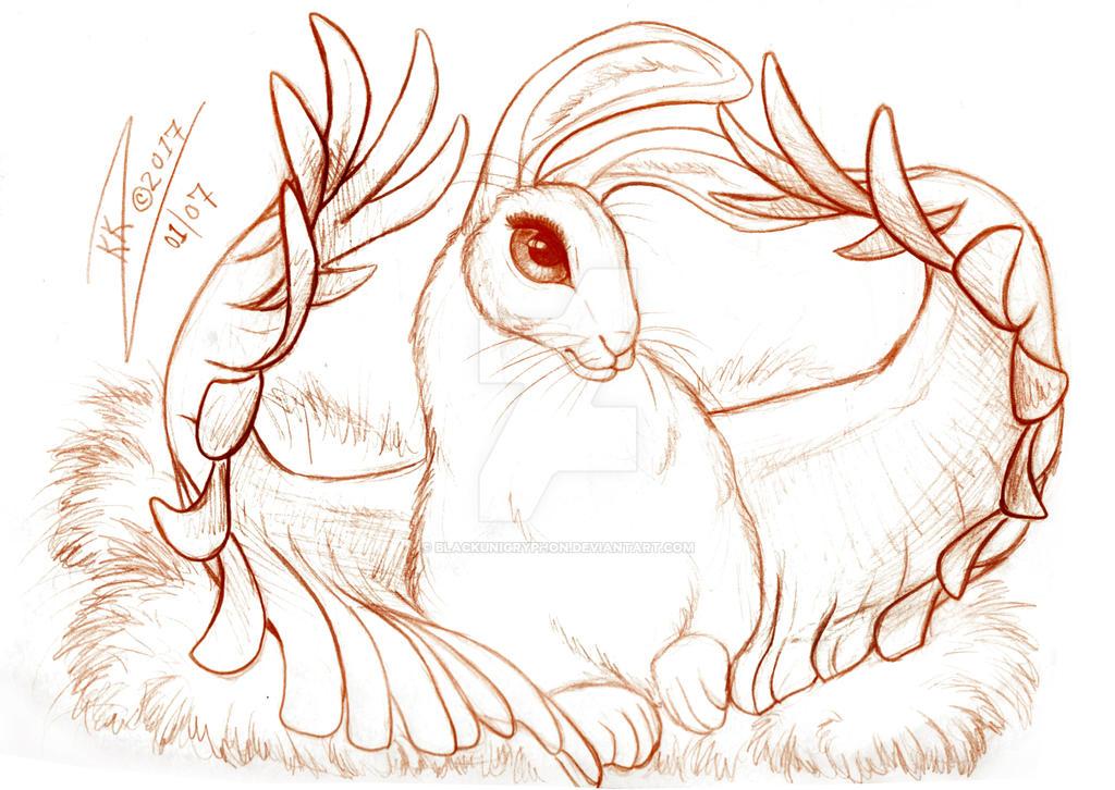 Winged Rabbit by BlackUniGryphon