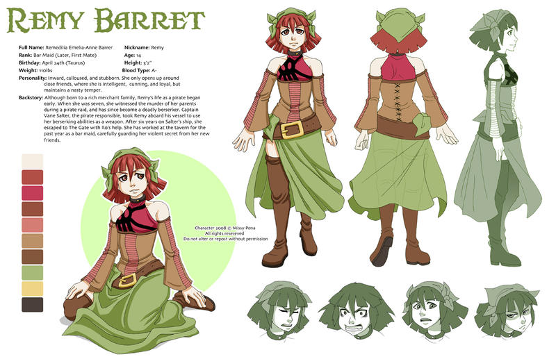 Fantasy Character Design Sheet : Remy barret character sheet by missypena on deviantart
