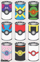 Pokeball Soup Cans by missypena