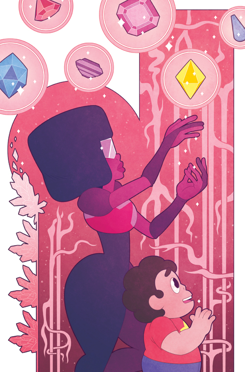 Another issue of the Steven Universe comic is out! This one is based on Mucha's famous absinthe poster. Here it's Garnet gently leaving another bubbled gem inside the temple. This issue is about Li...