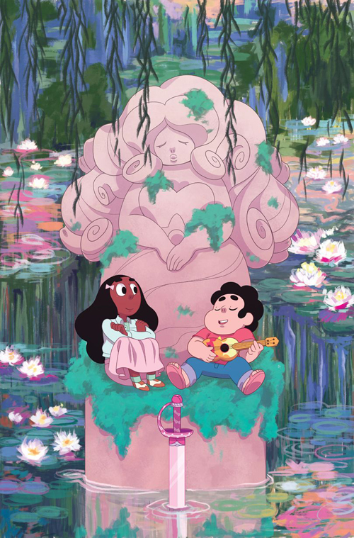 Steven Universe issue 11 is out! Here's the cover I did for it. I've had the Monet-esque image of Steven and Connie sitting beneath one of Rose's fountain statues in my head for a...