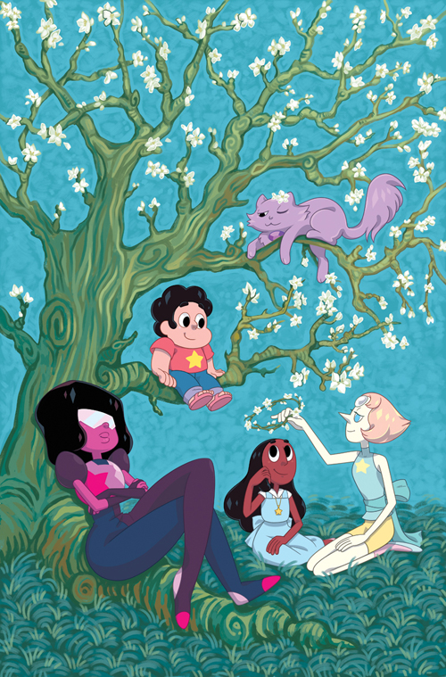 Cover of Steven Universe issue #18! Based on Vincent Van Gogh's Almond Blossoms. This was a really soothing one to work on. Illustration © Cartoon Network and BOOM! Studios