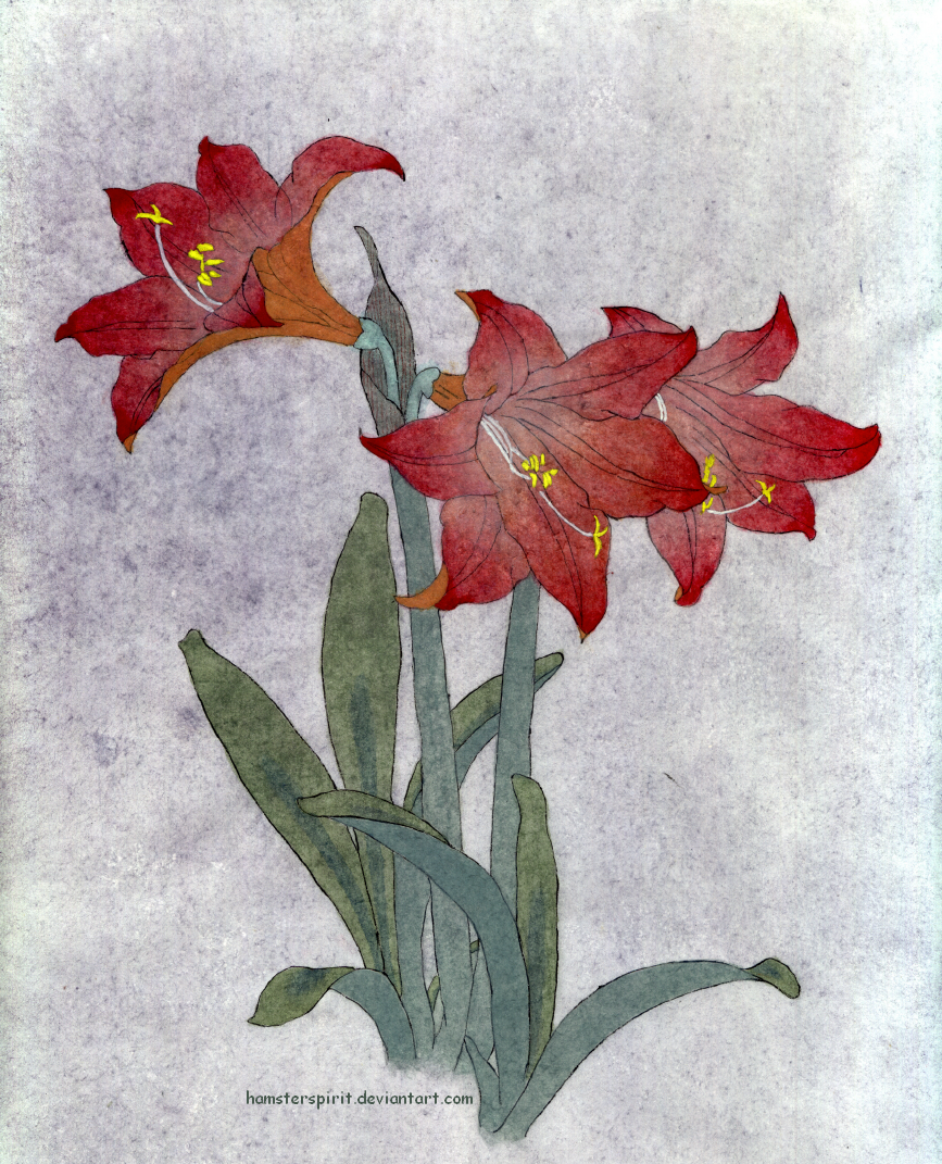 Line Art And Painting : Red flower fine line painting by hamsterspirit on deviantart