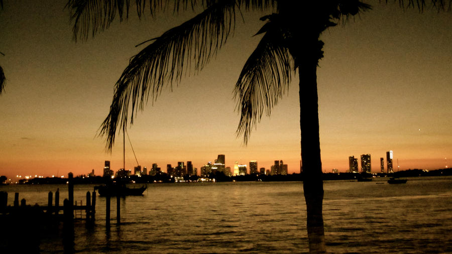 Miami at Dusk Downtown Miami Skyline Miami Beach wallpaper
