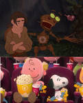 Charlie Brown and Snoopy watch Treasure Planet