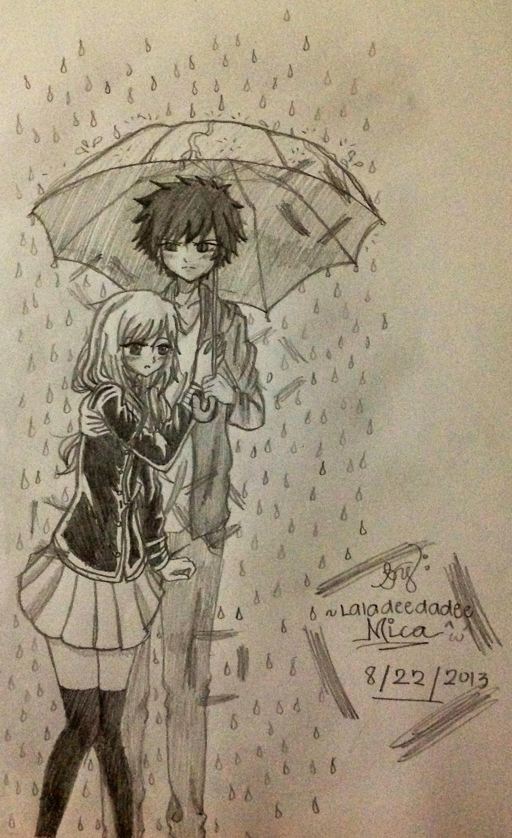 Slight Hug (Under the Rain) by Laladeedadee on DeviantArt