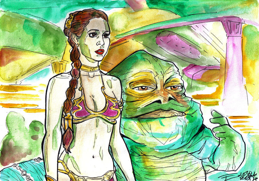 Slave Leia And Jabba By Bulma24 On DeviantArt
