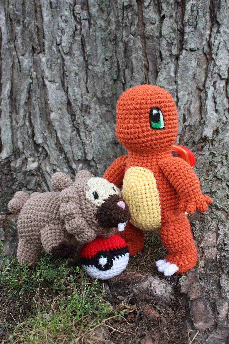 Charmander, Bidoof and Pokeball by rdekroon