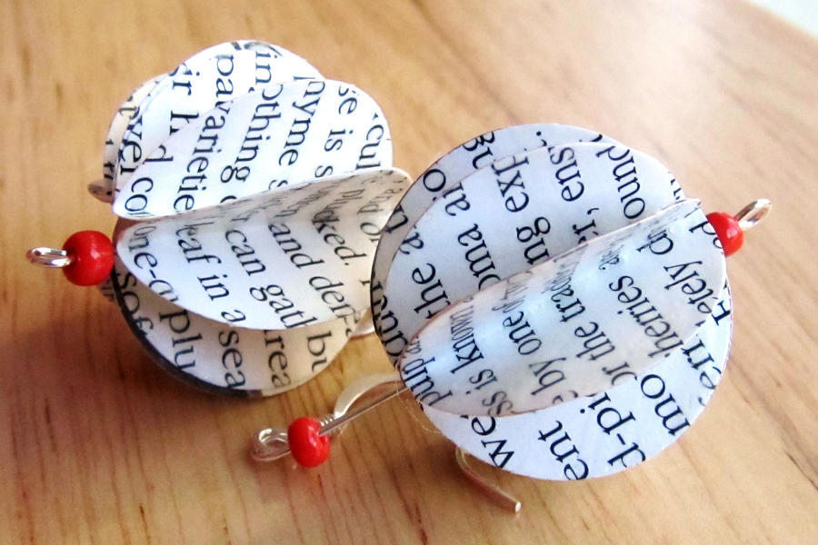 Recycled paper lantern earring by boutiquevintage72 on for Recycled paper lantern