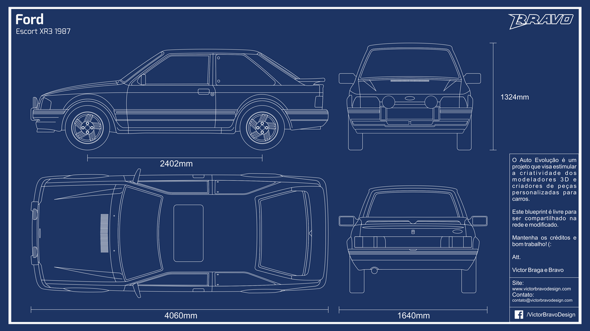 Blueprint Ford Escort XR3 1987 by VictorBravoDesign on DeviantArt