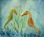 Two Seahorses by LoonaLucy