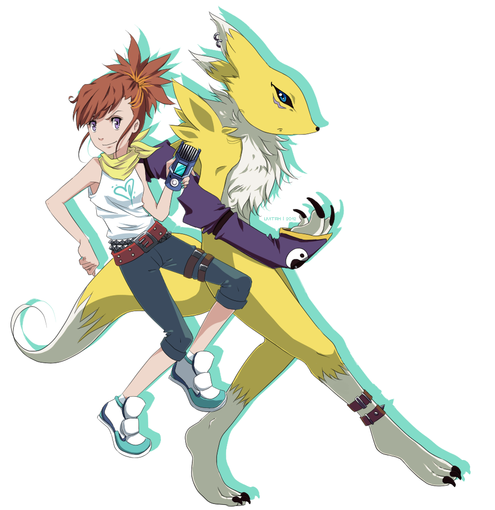 Ruki and Renamon  XW-Hunter style by Ajdra