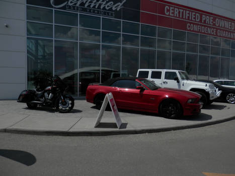 Victory Motorcycle Ford Mustang and Jeep wrangler