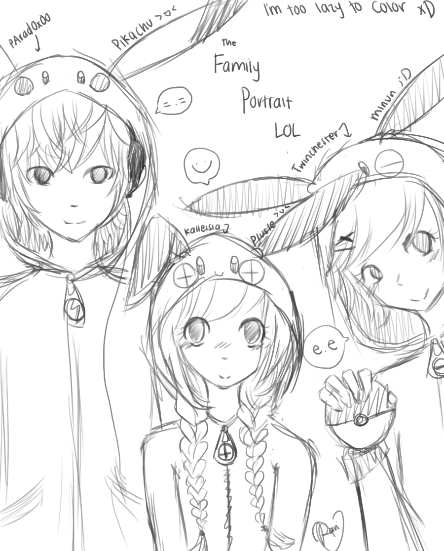 Sketch Of Anime Family Coloring Pages