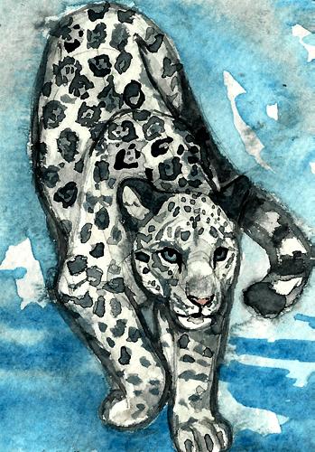 ACEO - White Jaguar by NadiavanderDonk