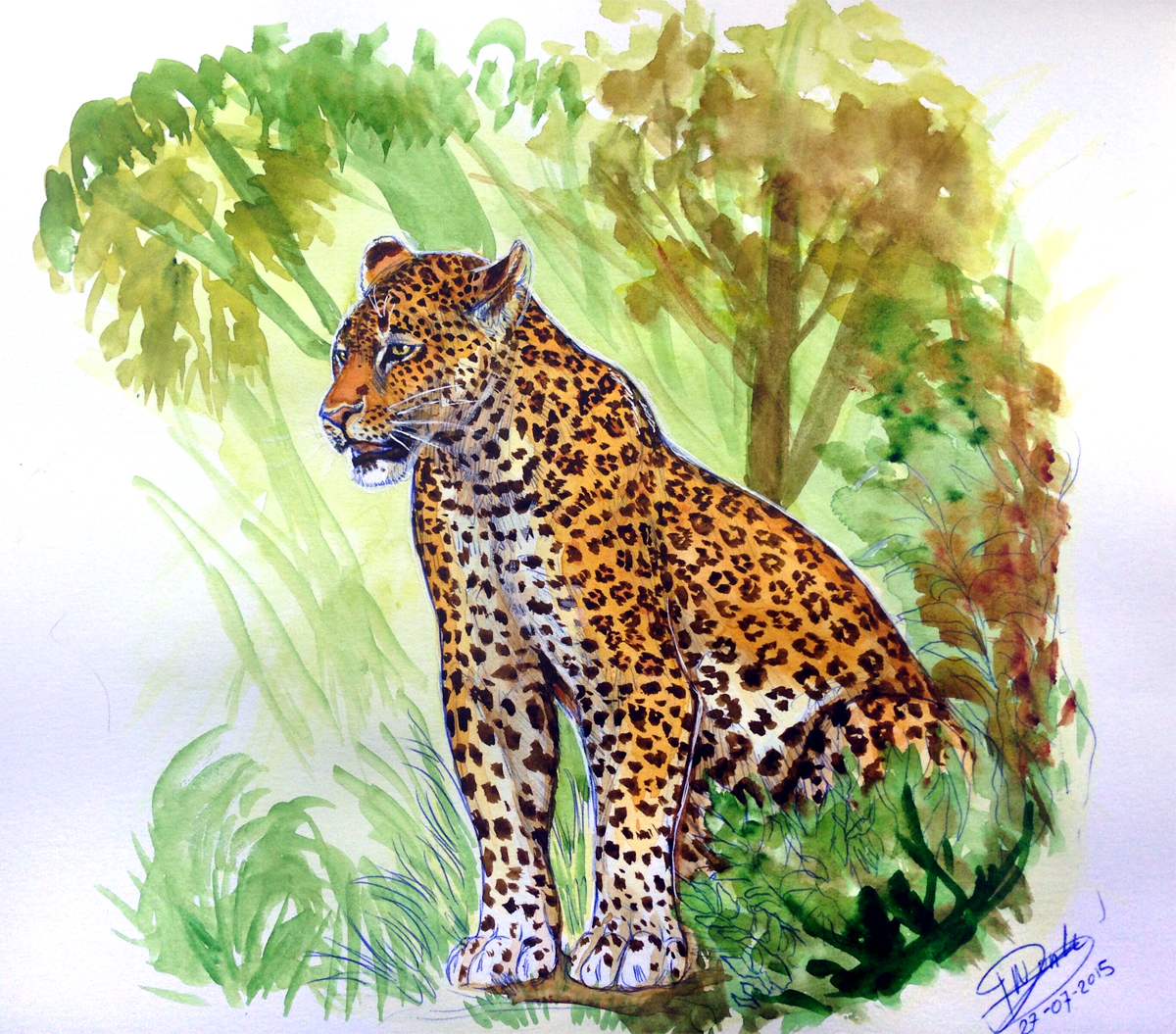 Watercolor - Leopard by NadiavanderDonk