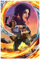 korra+Asami by GorillaSketch
