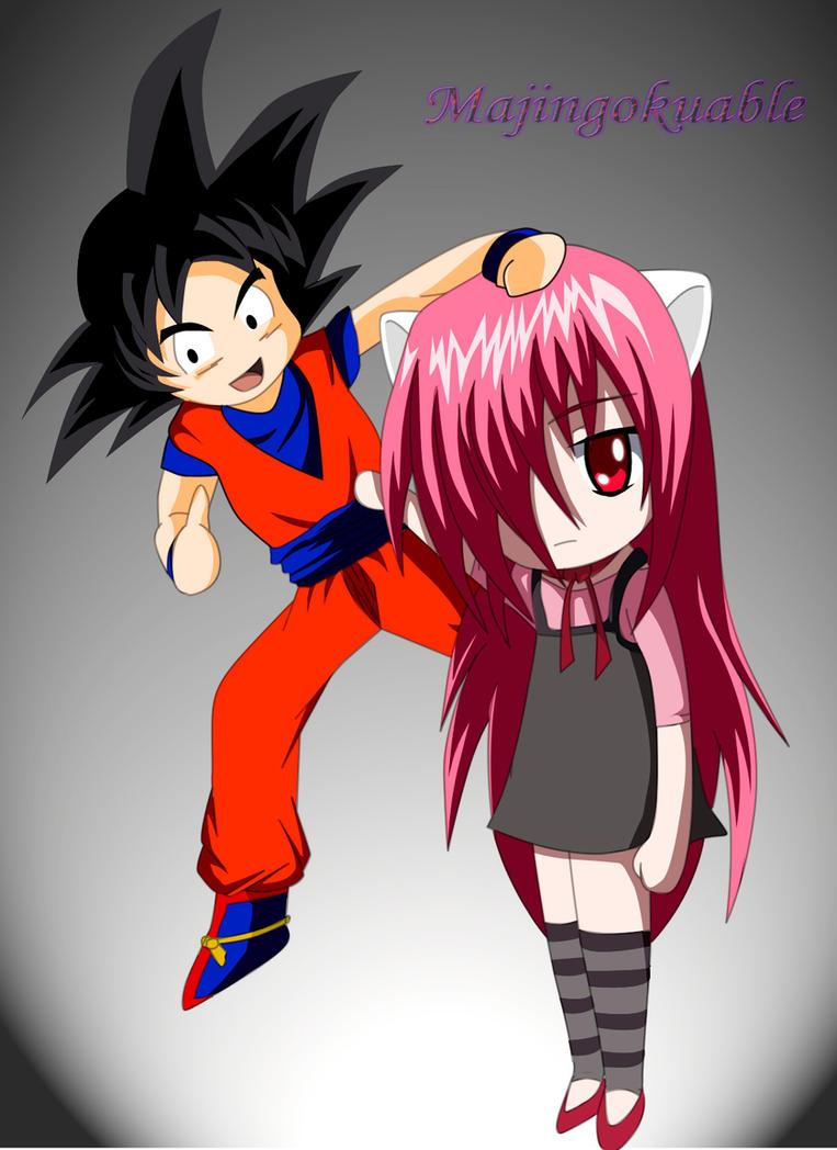 Goku and Lucy Chibi by Majingokuable