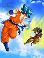 Goku SSGSS vs Goku SSJ4 by Majingokuable