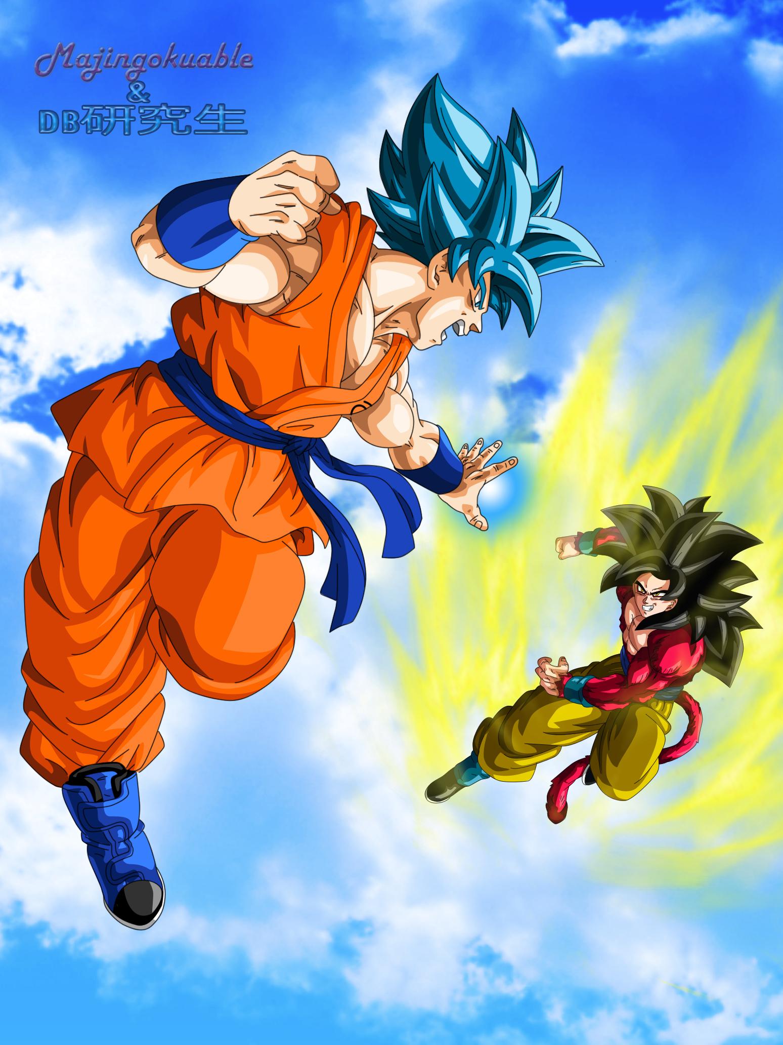Goku SSGSS vs Goku SSJ4 by Majingokuable on DeviantArt