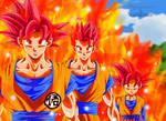 Goku, Gohan y Goten ssj Dios