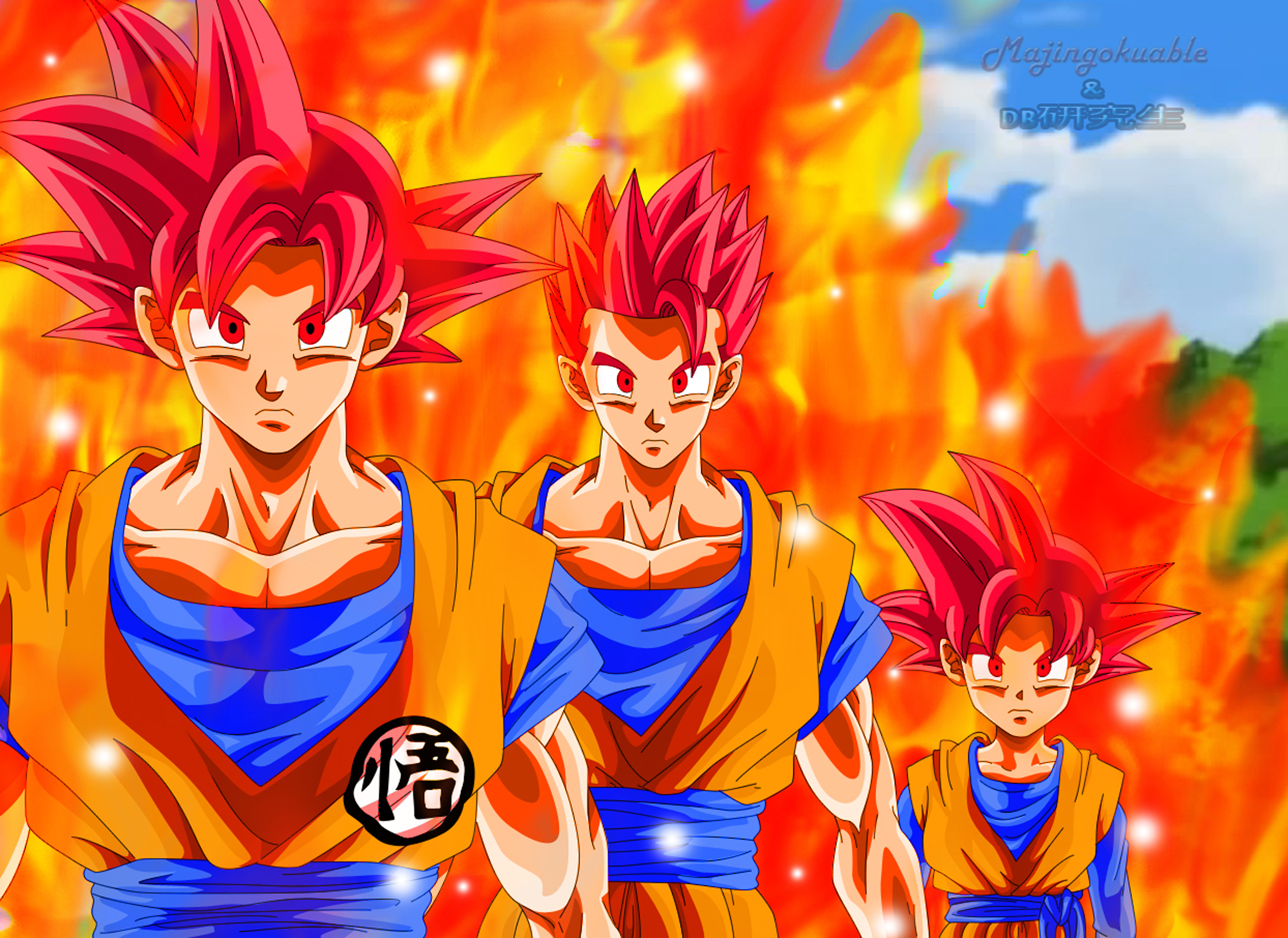 Goku, Gohan y Goten ssj Dios by Majingokuable on DeviantArt