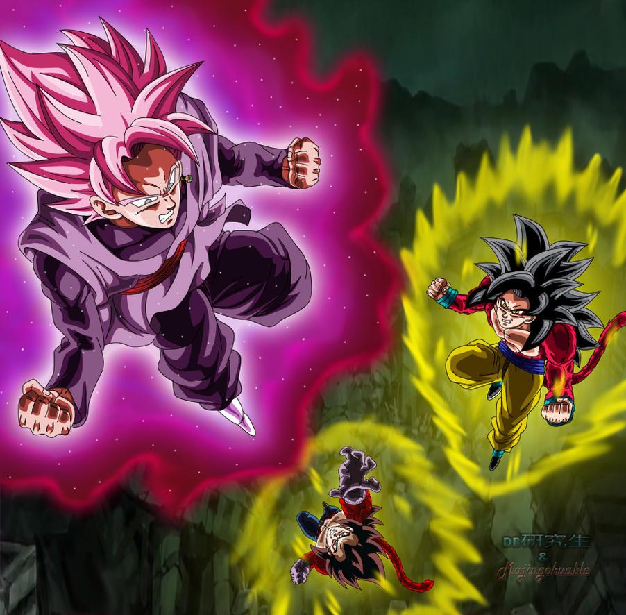 Goku Black ssj Rose vs Goku y Vegeta ssj4 by Majingokuable ...