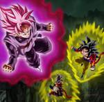 Goku Black ssj Rose vs Goku y Vegeta ssj4