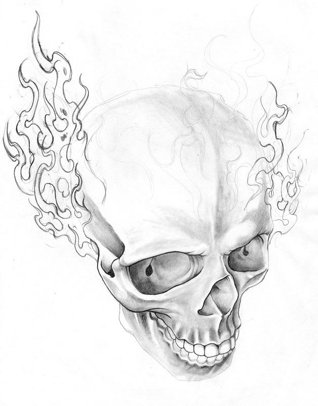 fire skull sketch