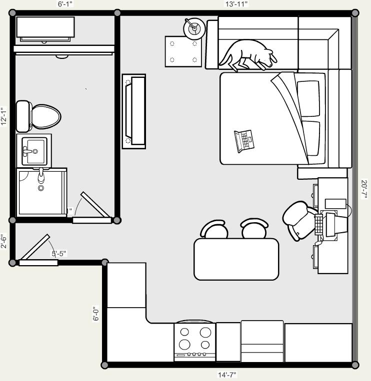 garage recording studio ideas - Studio Apartment Floor Plan by X 5 4 5 2 on DeviantArt