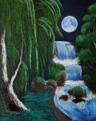 Moonlit Willow-Falls