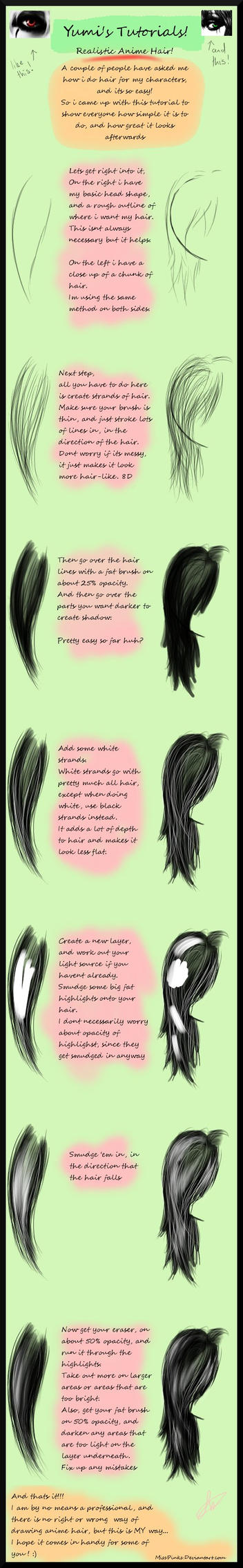 Realistic Anime Hair Tutorial by MissPinks