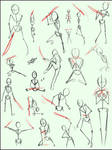 Sword sickle and blade poses
