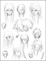 Manga Hairstyles sheet 1 by MissPinks